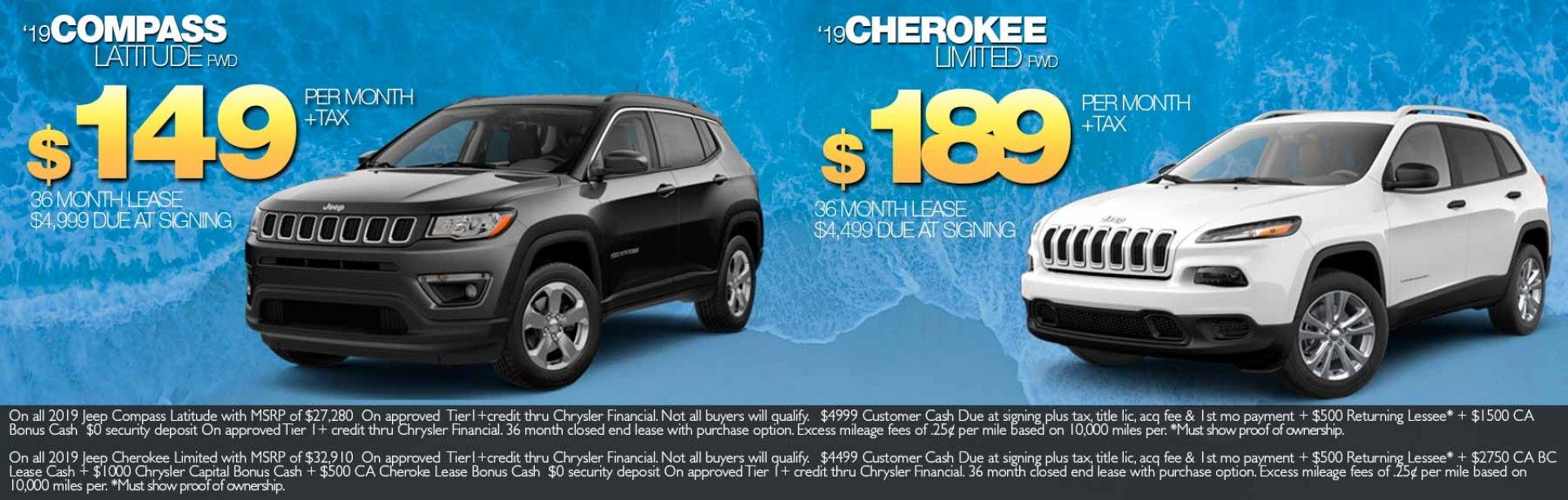 2019 Compass & Cherokee lease offers