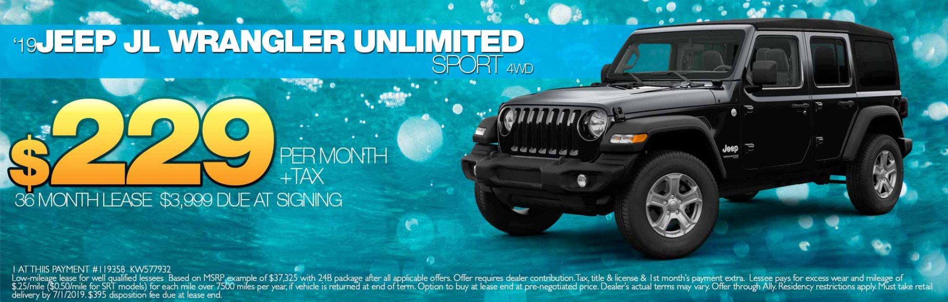 2019 Wrangler Unlimited lease offer
