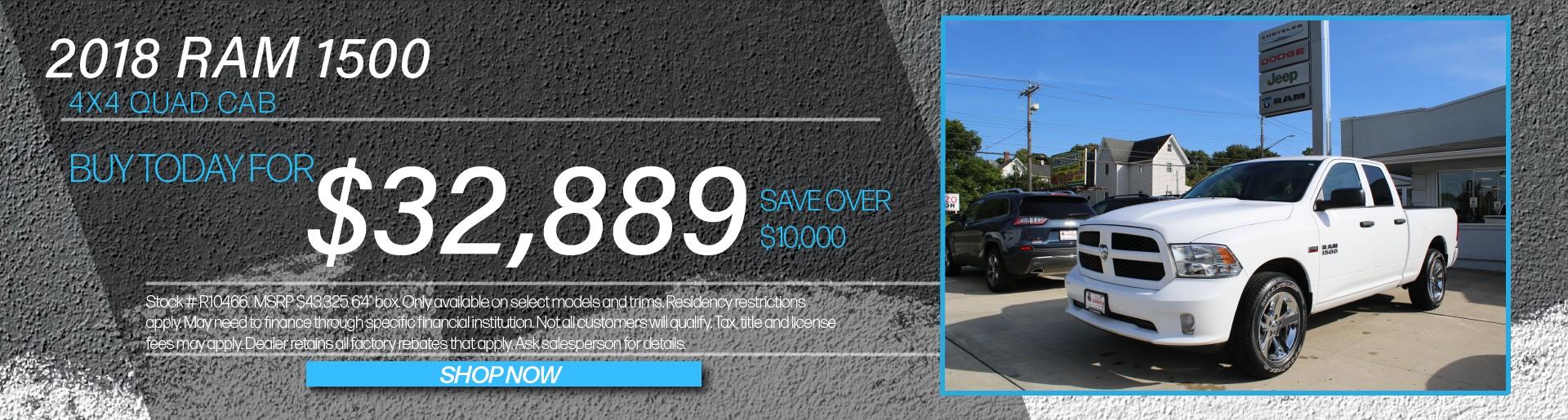 2018 Ram 1500 4x4 Quad Cab Buy Today For $32,889
