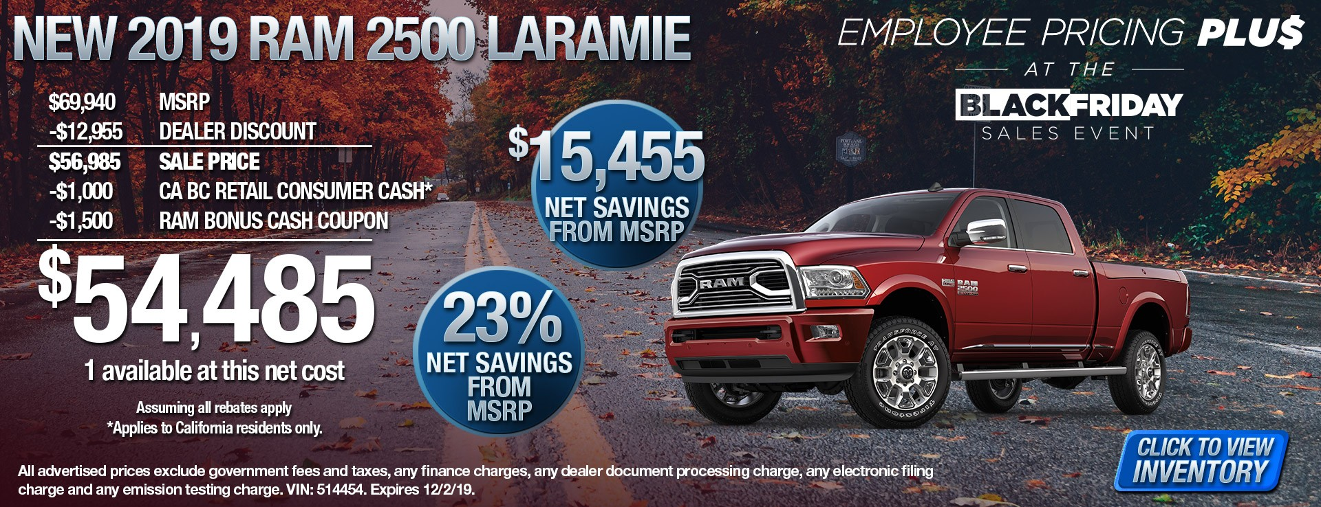 2019 Ram 2500 Laramie - $15455 Net Savings from MSRP