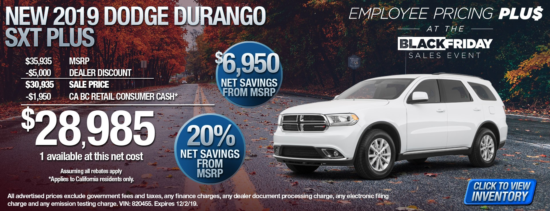 2019 Dodge Durango SXT Plus - $6950 New Savings from MSRP