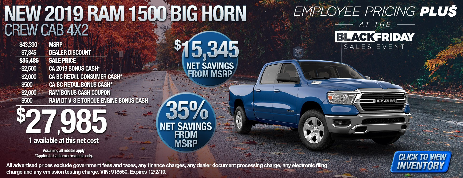 2019 Ram 1500 Big Horn - $15345 Net Savings from MSRP