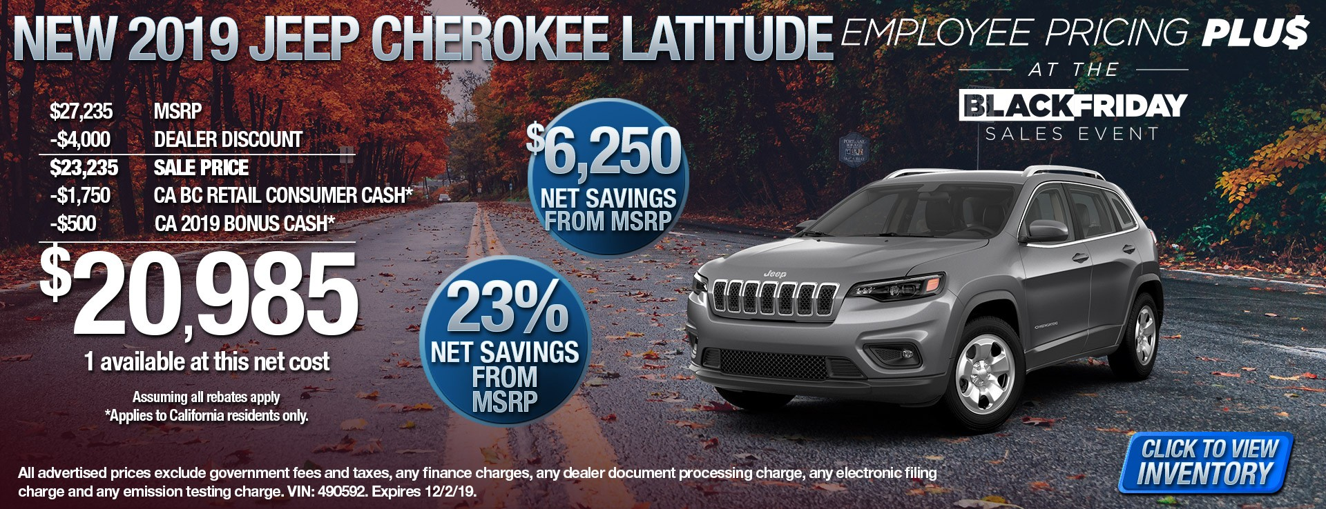2019 Jeep Cherokee Latitude - $6250 Net Savings from MSRP