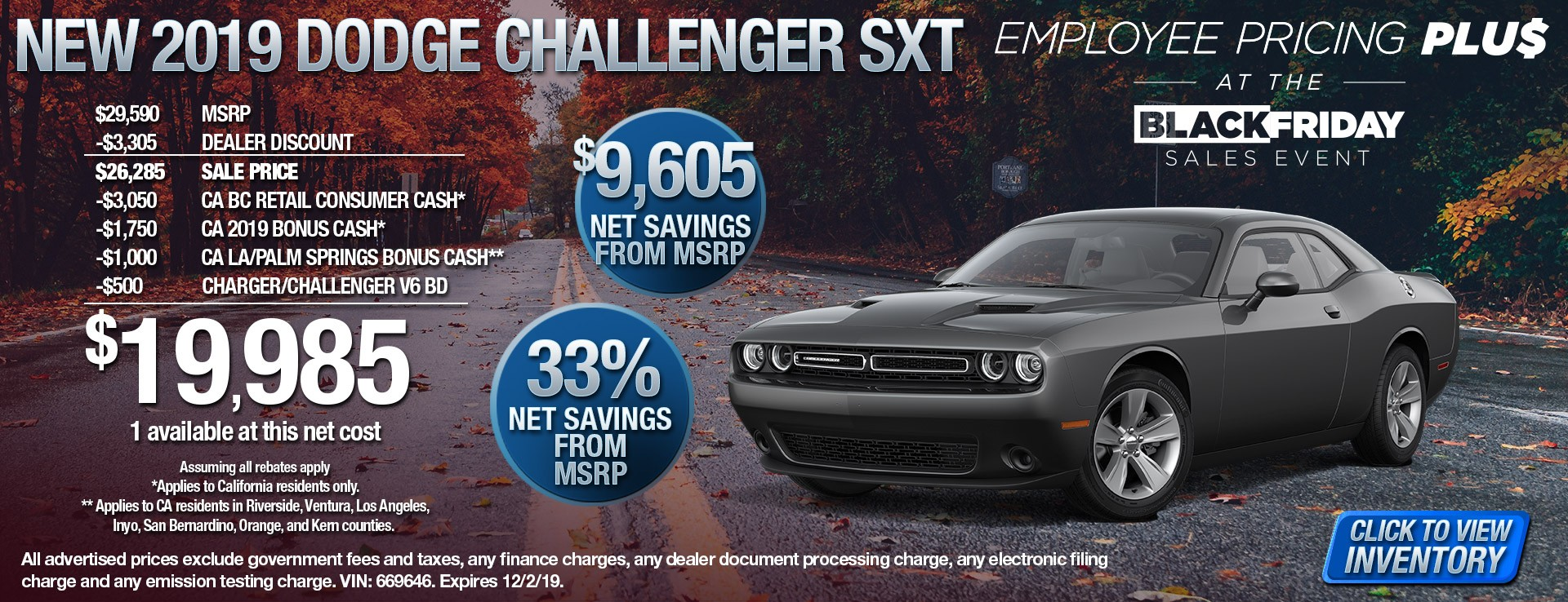 2019 Dodge Challenger SXT - $9605 Net Savings from MSRP