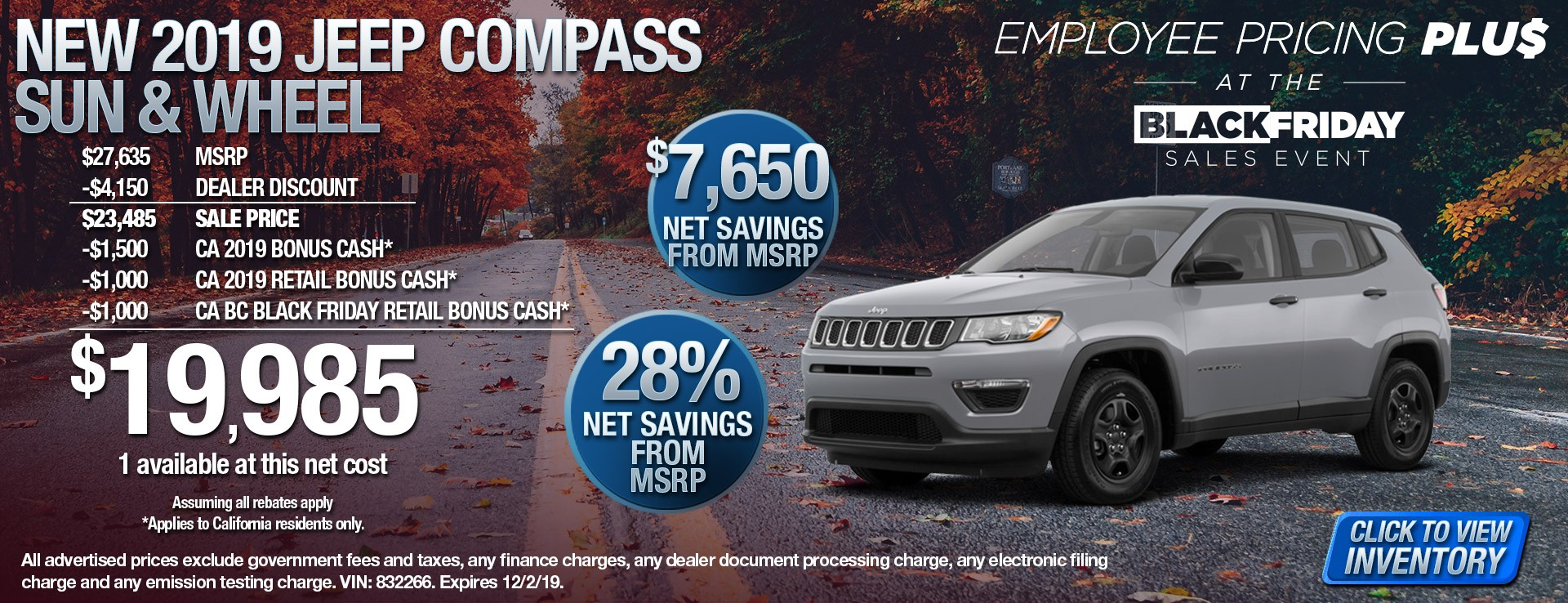 2019 Jeep Compass Sun & Wheel - $7650 Net Savings from MSRP