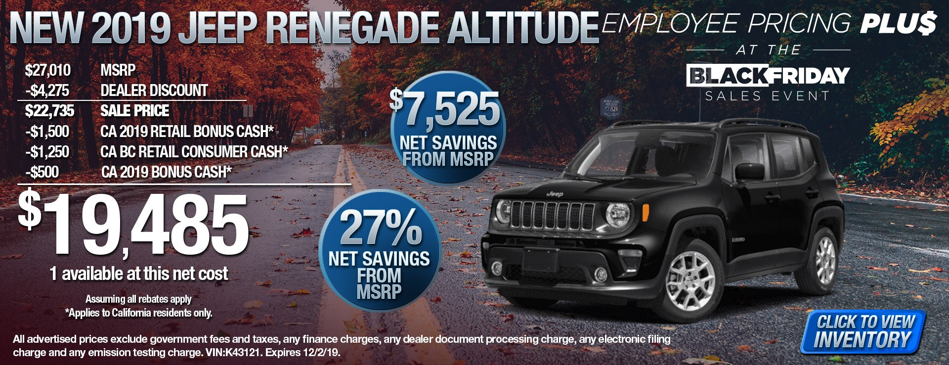 2019 Jeep Renegade Altitude - $7525 Net Savings from MSRP