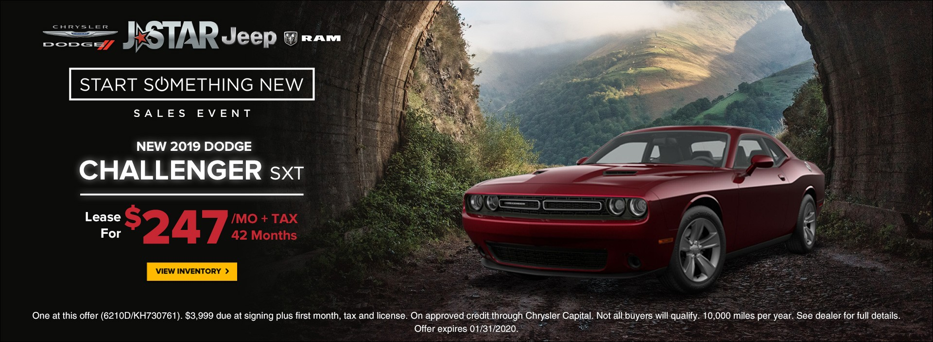 new 2019 Dodge Challenger SXT lease for $247 per month plus tax for 42 months