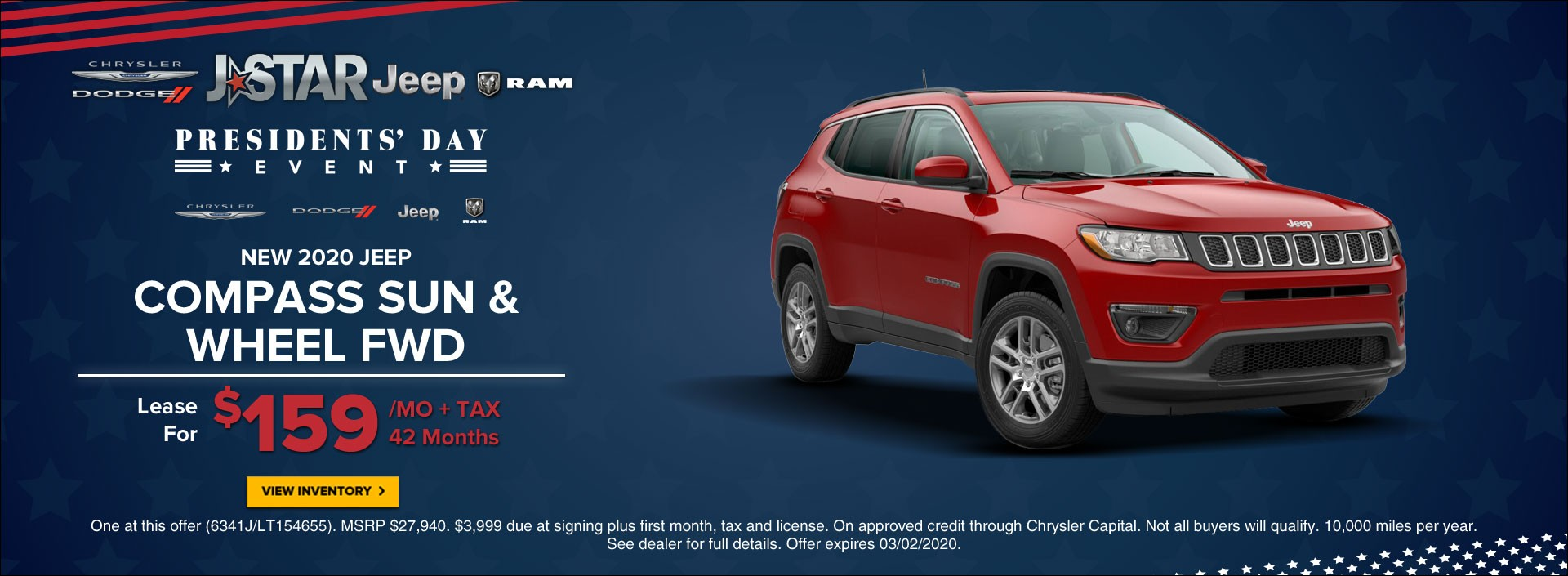 2020 Jeep Compass Sun & Wheel Fwd Lease for $159 per month + tax for 42 months at President's Day Sales Event