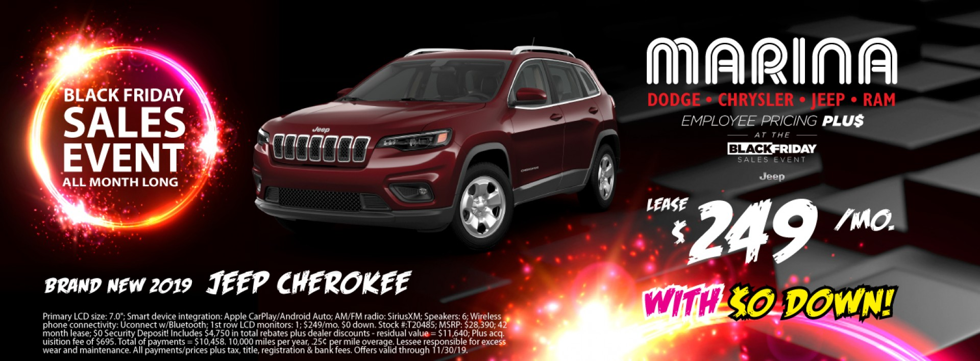 Brand new 2019 Jeep Cherokee lease $249/mo with $0 down!