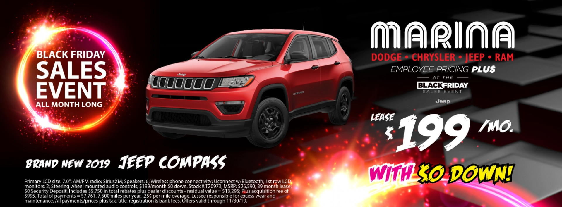 Brand new 2019 Jeep Compass lease $199/mo with $0 down!