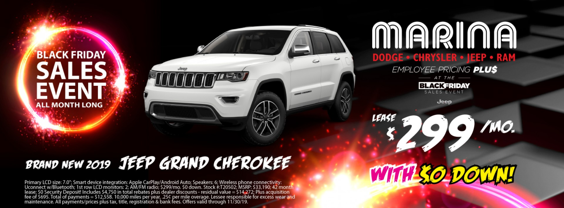 Brand new 2019 Jeep Grand Cherokee lease $299/mo with $0 down!