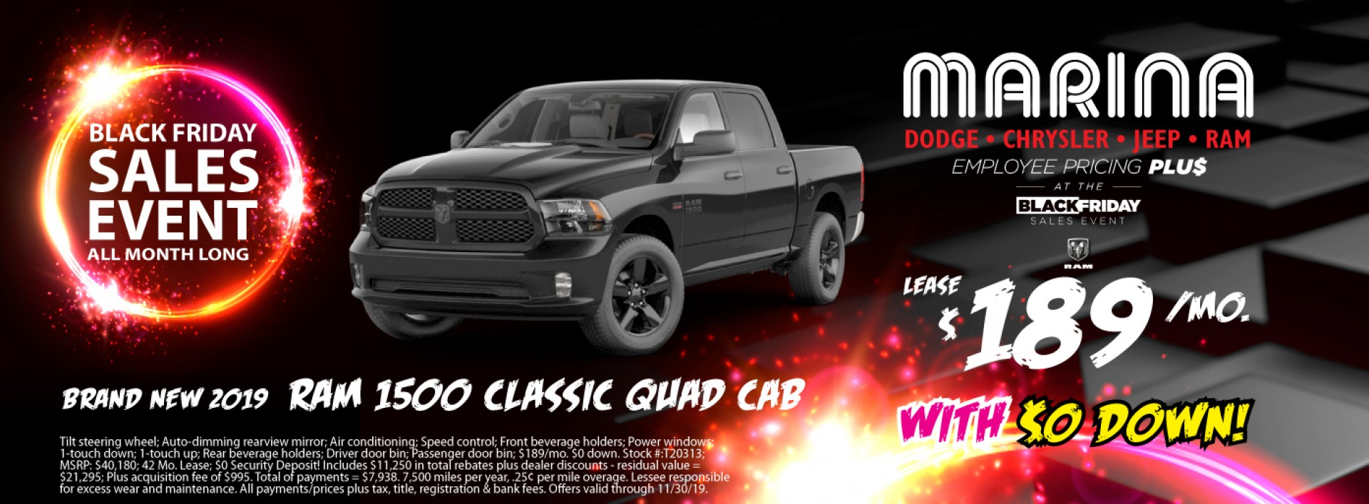 Brand new 2019 Ram 1500 Classic Quad Cab lease $189/mo. with $0 down!