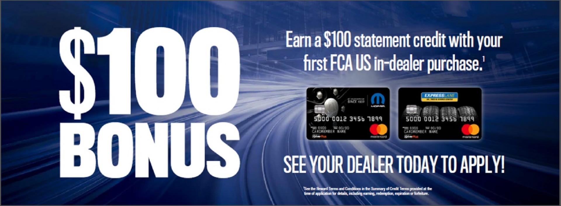 100 Bonus FCA US in Dealer Purchase