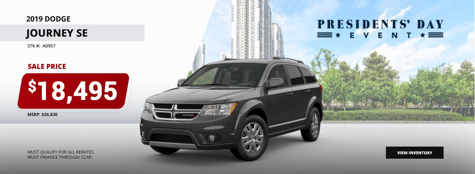 2019 Dodge Journey SE. Sale Price $18,495 at the President's Day Event