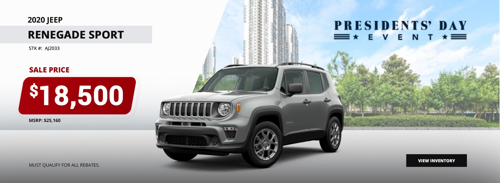 2020 Jeep Renegade Sport Sale Pirce $18,500 at President's Day Event