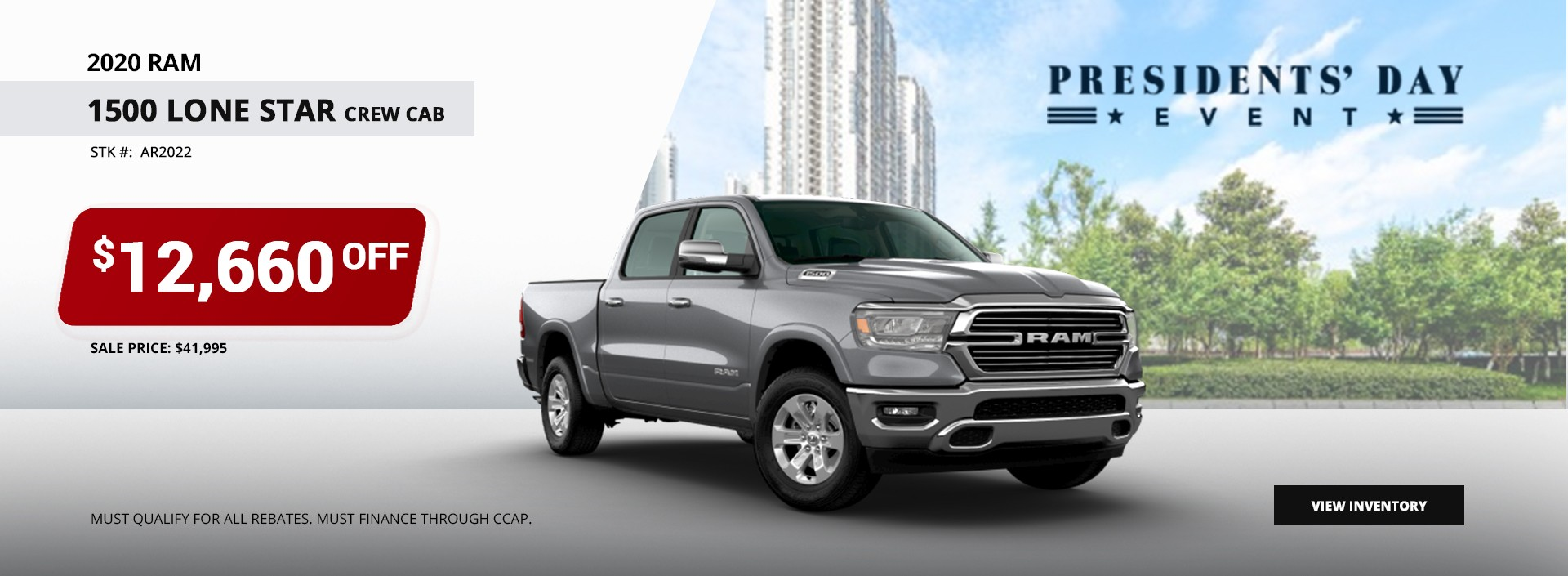 2020 Ram 1500 Lone Start Crew Cab $12,660 OFF at President's Day Event