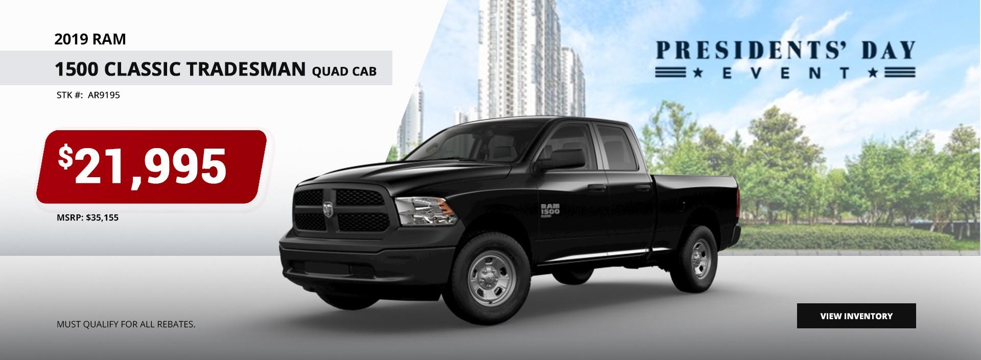 2019 Ram 1500 Classic Tradesman Quad Cab $21,995 at President's Day Sales Event
