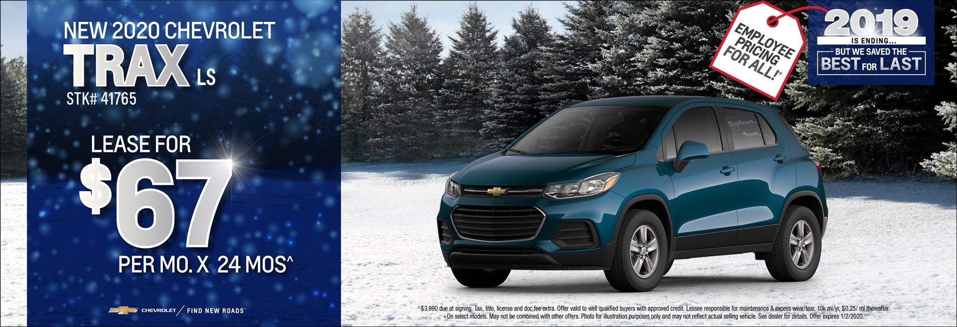 New 2020 Chevrolet Trax LS Lease for $67/mo x 24mos.