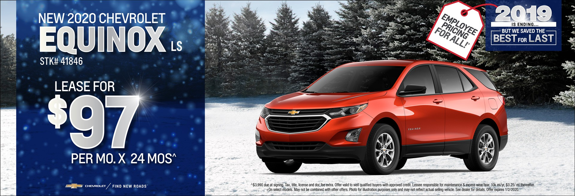 New 2020 Chevrolet Equinox LS Lease for $97/mo x 24mos.