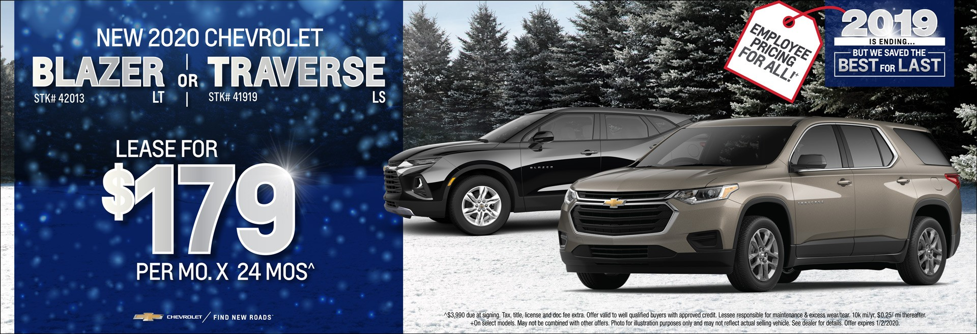 New 2020 Chevrolet Blazer LT or Traverse LS Lease for $179/mo x 24mos.