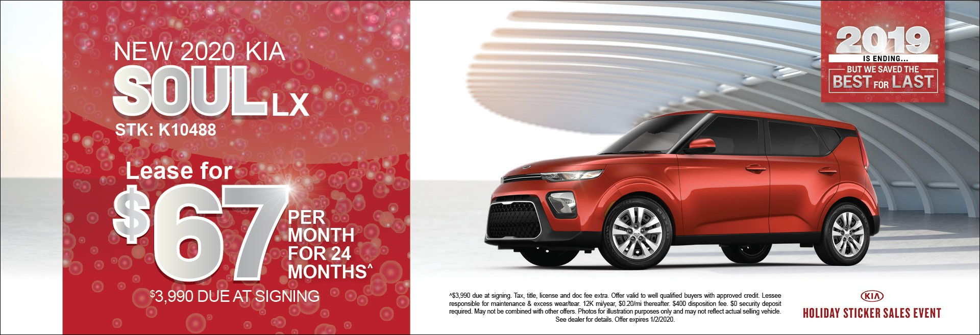 New 2020 Kia Soul LX  lease for $67/mo for 24mos