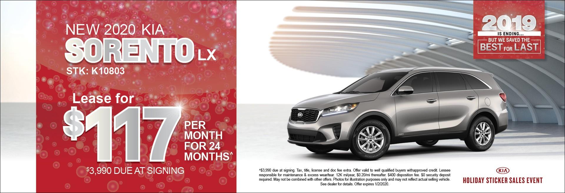 New 2020 Kia Sorento LX  lease for $117/mo for 24mos