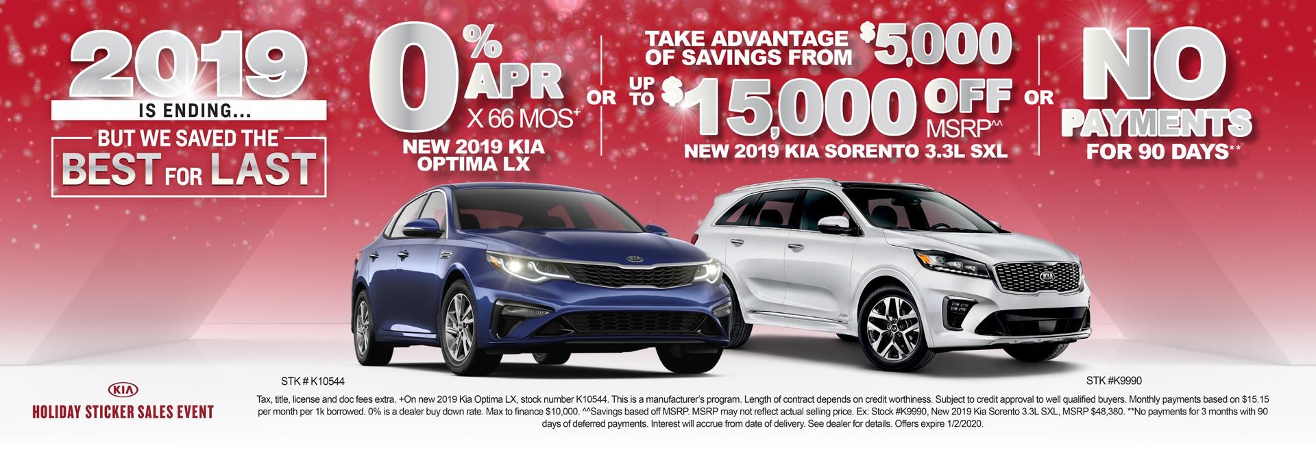 NEW KIA OPTIMA LX & NEW 2019 KIA SORENTO 3.3L SXL 0%APR X 66 MOS
