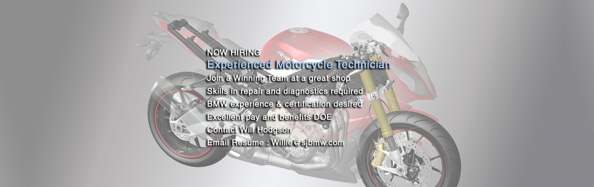 Now Hiring - Experienced Motorcycle Technician